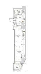 都営大江戸線 西新宿五丁目駅 徒歩22分の賃貸マンション 9階1DKの間取り