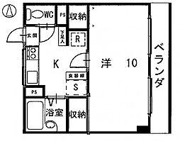 タケダビル 2階1Kの間取り
