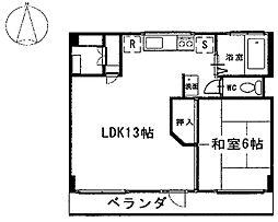 タケダビル 6階1LDKの間取り