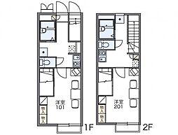 JR常磐線 水戸駅 バス14分 羅漢橋下車 徒歩2分の賃貸アパート 1階1Kの間取り