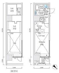 JR山手線 大崎駅 徒歩7分の賃貸マンション 3階ワンルームの間取り