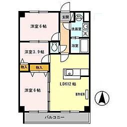 プリムローズヒル 弐番館 2階3LDKの間取り