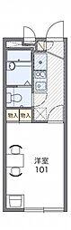 レオパレスコンフォート翠松 2階1Kの間取り