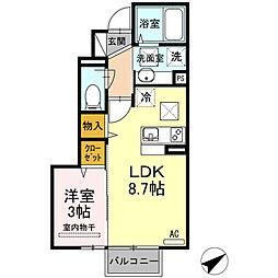 ル・メイユール・スーヴニール 1階1LDKの間取り