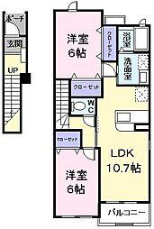 ルミエール 2階2LDKの間取り