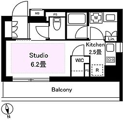 東急東横線 中目黒駅 徒歩15分の賃貸マンション 3階1Kの間取り