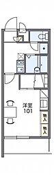 レオパレスアトラス折立II 2階1Kの間取り