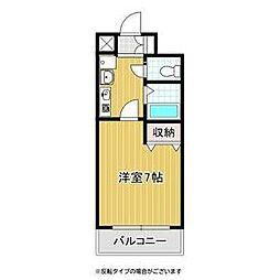 バッハレジデンス神戸ウエスト B棟 6階1Kの間取り