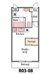 JR高崎線 北本駅 徒歩25分の賃貸アパート 2階ワンルームの間取り