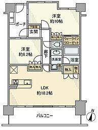 JR中央線 立川駅 徒歩14分の賃貸マンション 7階2LDKの間取り