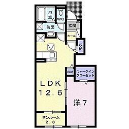 ウメミツハウス1 1階1LDKの間取り