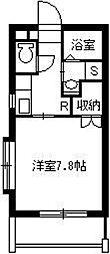 葉月館III 3階1Kの間取り
