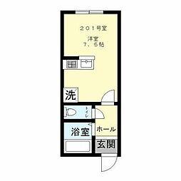 京王線 明大前駅 徒歩17分の賃貸アパート 2階ワンルームの間取り