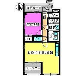 ビ・ザ・ビ・ランドII N棟 2階1LDKの間取り