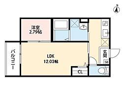 南海高野線 北野田駅 徒歩9分の賃貸アパート 1階1LDKの間取り