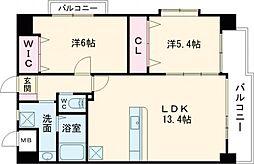 仮)中井5丁目賃貸マンション 6階2LDKの間取り