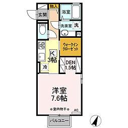 (仮)D-room平柳町 2階1Kの間取り