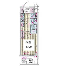 プレサンス谷町九丁目ディセオ 3階1Kの間取り