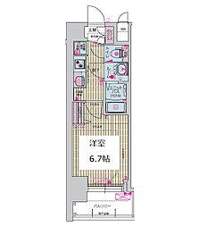 プレサンス谷町九丁目ディセオ 5階1Kの間取り