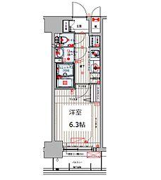 Osaka Metro谷町線 四天王寺前夕陽ヶ丘駅 徒歩8分の賃貸マンション 4階1Kの間取り