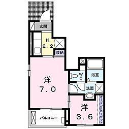 JR仙石線 石巻あゆみ野駅 徒歩12分の賃貸アパート 1階1Kの間取り
