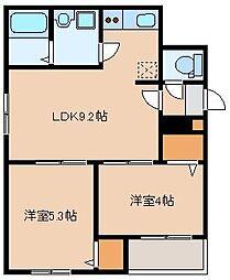 JR鹿児島本線 箱崎駅 徒歩11分の賃貸アパート 3階2LDKの間取り