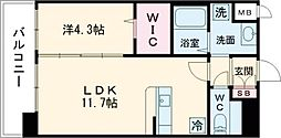 malvarosa 6階1LDKの間取り