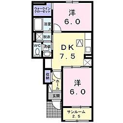 ベル・フルールB 1階2DKの間取り