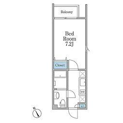 JR山手線 恵比寿駅 徒歩12分の賃貸マンション 2階1Kの間取り