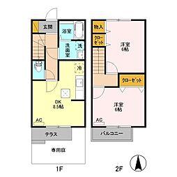 JR信越本線 北長岡駅 3.5kmの賃貸テラスハウス 1階2DKの間取り