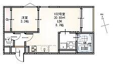 JR仙山線 東照宮駅 徒歩12分の賃貸アパート 2階1LDKの間取り