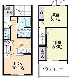 Luana(ルアナ)レジデンスB 1階2LDKの間取り