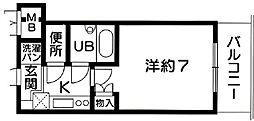 サンロード・スクエア・ショウワ 7階1Kの間取り