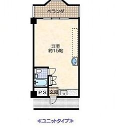 ビクトワール桜井 3階ワンルームの間取り