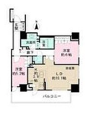 JR中央線 三鷹駅 徒歩1分の賃貸マンション 15階2LDKの間取り