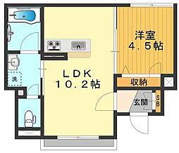 JR中央線 八王子駅 徒歩7分の賃貸アパート 1階1LDKの間取り