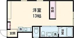東急東横線 学芸大学駅 徒歩8分の賃貸アパート 2階ワンルームの間取り