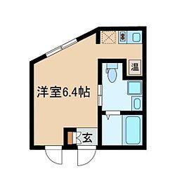 都営大江戸線 西新宿五丁目駅 徒歩11分の賃貸マンション 4階ワンルームの間取り