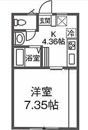 JR南武線 尻手駅 徒歩7分の賃貸アパート 3階1Kの間取り