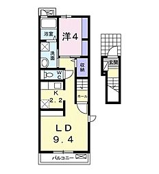 新栄アパートA 2階1LDKの間取り