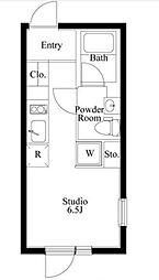 PASEO市谷台町II 2階ワンルームの間取り