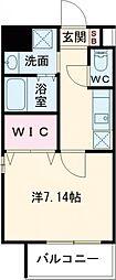 折尾4丁目賃貸マンション 6階1Kの間取り