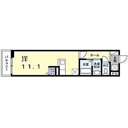 南海高野線 堺東駅 徒歩9分の賃貸アパート 3階ワンルームの間取り