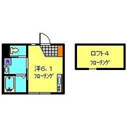 相鉄いずみ野線 弥生台駅 徒歩10分の賃貸アパート 2階1Kの間取り