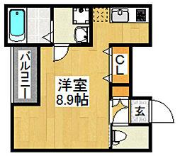 福岡市地下鉄空港線 藤崎駅 徒歩5分の賃貸マンション 1階1Kの間取り