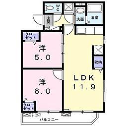 ルジーナ ベルデ 3階2LDKの間取り