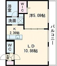 仮称)千歳清水町5丁目マンション 2階1LDKの間取り