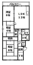 石川マンション 3階3LDKの間取り