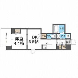 JR阪和線 我孫子町駅 徒歩6分の賃貸マンション 4階1DKの間取り