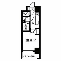 JR東西線 加島駅 徒歩7分の賃貸マンション 10階1Kの間取り